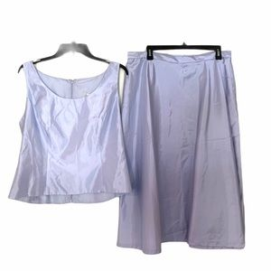 Michaelangelo Satin Suite Top Skirt Lavender Blue